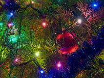 Decorated Christmas tree. Christmas tree decorated with lights and ornaments Royalty Free Stock Images
