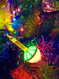 Decorated Christmas tree. Christmas tree decorated with lights and ornaments Stock Photo