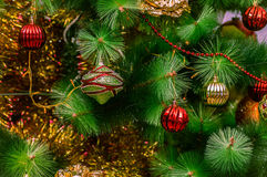 Decorated Christmas tree. Background with decorated Christmas tree Royalty Free Stock Photos