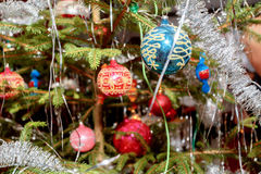 Decorated christmas tree with balls. Detail of decorated christmas tree with balls Royalty Free Stock Images