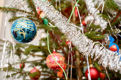 Decorated christmas tree with balls. Detail of decorated christmas tree with balls Stock Photos