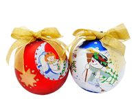 Decorated christmas tree balls with golden ribbon Stock Images