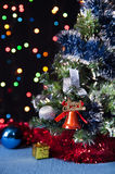 Decorated Christmas tree,the  bell on a black Royalty Free Stock Image