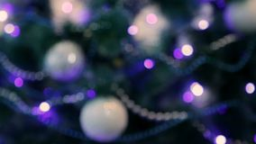 Decorated Christmas tree with blue lights. Unfocused image stock video