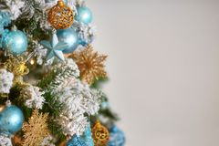 Decorated christmas tree on blurred defocused background. Decorated christmas tree on blurred defocused pattern background Royalty Free Stock Image