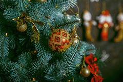 Decorated Christmas tree on blurred, sparkling and fairy backgro Stock Images