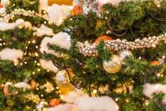 Decorated Christmas tree on blurred, sparkling and fairy background Stock Photos