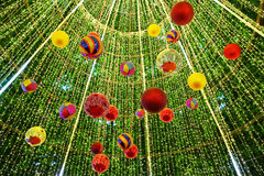 Decorated Christmas tree on blurred Royalty Free Stock Photo