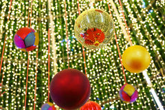 Decorated Christmas tree on blurred Stock Photography