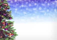 Decorated christmas tree on bokeh background. 3D illustration royalty free illustration