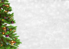 Decorated christmas tree on bokeh background. 3D render. Stock Photo