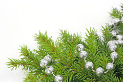 Decorated christmas tree bough Stock Image