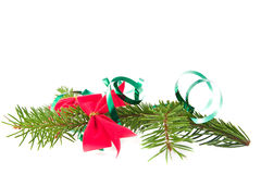Decorated christmas tree branch Royalty Free Stock Photography