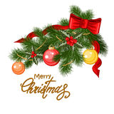 Decorated Christmas tree branch Stock Photos