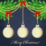 Decorated Christmas tree branches Stock Photo
