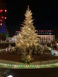 Decorated Christmas tree. Christmas tree with lots of lights at Tivoli& x27;s, Copenhagen stock photos