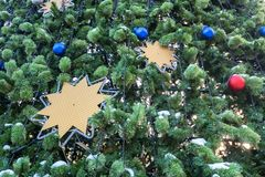 Decorated Christmas tree close up stock images