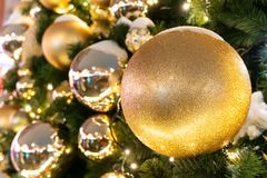 Decorated Christmas tree close up details. Christmas tree lights and toys.  royalty free stock photos