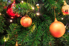 Decorated Christmas tree. Closed up with colorfull ball Royalty Free Stock Images