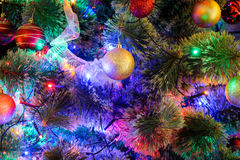 Decorated Christmas tree closeup Royalty Free Stock Images