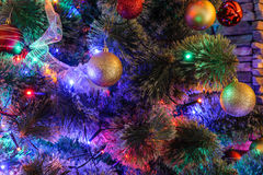 Decorated Christmas tree closeup Stock Images