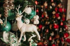 Decorated christmas tree closeup. Stock Photo