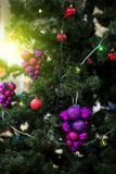 Decorated Christmas tree closeup Stock Photo