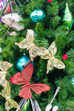 Decorated Christmas Tree. A closeup of a Christmas tree showing some decorations royalty free stock photography