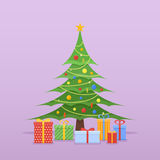 Decorated Christmas tree with colorful baubles, star and gifts. Flat style vector illustration Stock Images