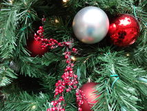 A decorated Christmas tree. Colorful glass ball Christmas tree decorations Royalty Free Stock Images