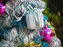 Decorated christmas tree with colorful ornaments. Royalty Free Stock Photography