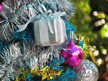 Decorated christmas tree with colorful ornaments. Royalty Free Stock Photo