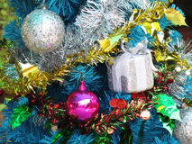 Decorated christmas tree with colorful ornaments. Royalty Free Stock Images