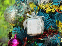 Decorated christmas tree with colorful ornaments. Stock Photo