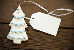 Decorated Christmas Tree Cookie With Label with Copy Space Stock Photography