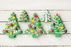 Decorated Christmas Tree Cookies Stock Photography
