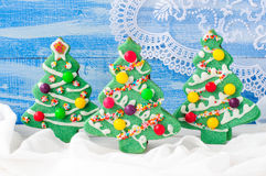 Decorated Christmas Tree Cookies Royalty Free Stock Photo