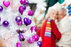 Decorated Christmas Tree And Couple In Store Royalty Free Stock Image