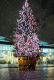 Decorated Christmas tree in the Covent Garden area. In London with snowflakes Stock Photography