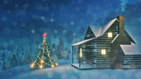 Decorated Christmas tree and cozy house at night Royalty Free Stock Photos