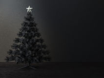Decorated christmas tree in dark  room Stock Photography