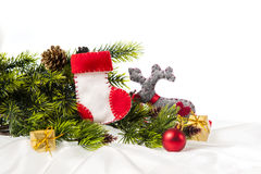 Decorated Christmas tree decorated with Christmas boots Santa Royalty Free Stock Image