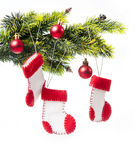 Decorated Christmas tree decorated with Christmas boots Royalty Free Stock Images