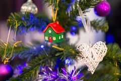 Decorated Christmas tree. In the living room Stock Photos