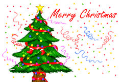 Decorated Christmas Tree. Digital Drawing Illustration of Christmas Tree Merry Christmas Stock Photo