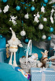 Decorated Christmas tree with gift Royalty Free Stock Images
