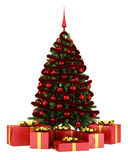 Decorated christmas tree with gift boxes isolated on white royalty free illustration
