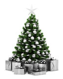 Decorated christmas tree with gift boxes isolated on white Stock Images