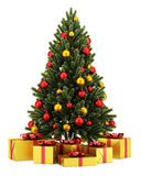 Decorated christmas tree with gift boxes isolated on white Stock Photo