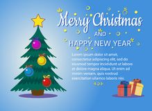 Decorated christmas tree with gift boxes, star, lights, decoration balls and lamps. Merry Christmas and a happy new year. For banners, posters, flyers. Flat royalty free illustration